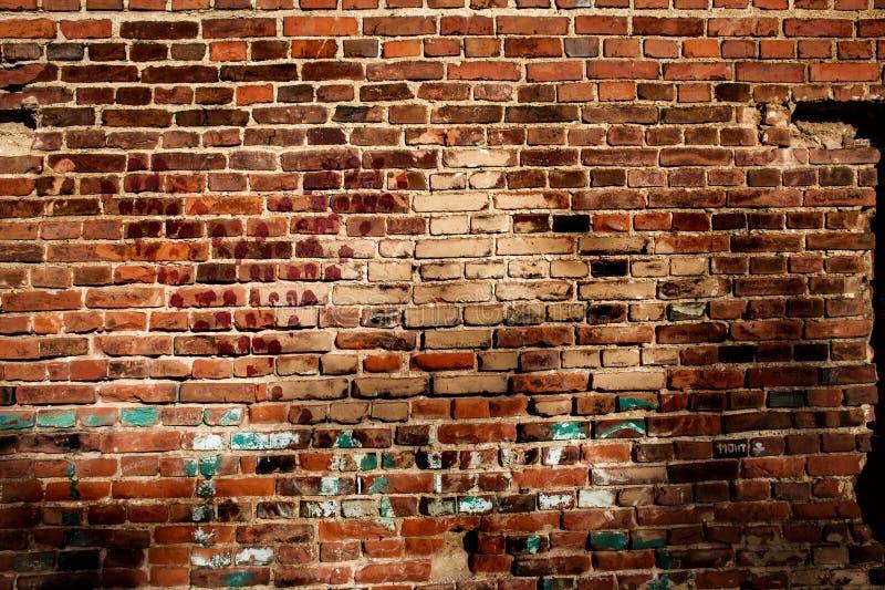 Textur av en gammal vägg för röd tegelsten royaltyfria bilder