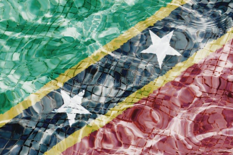 Textur av federation av helgonet Kitts och Nevis sjunker i pölen, vatten stock illustrationer