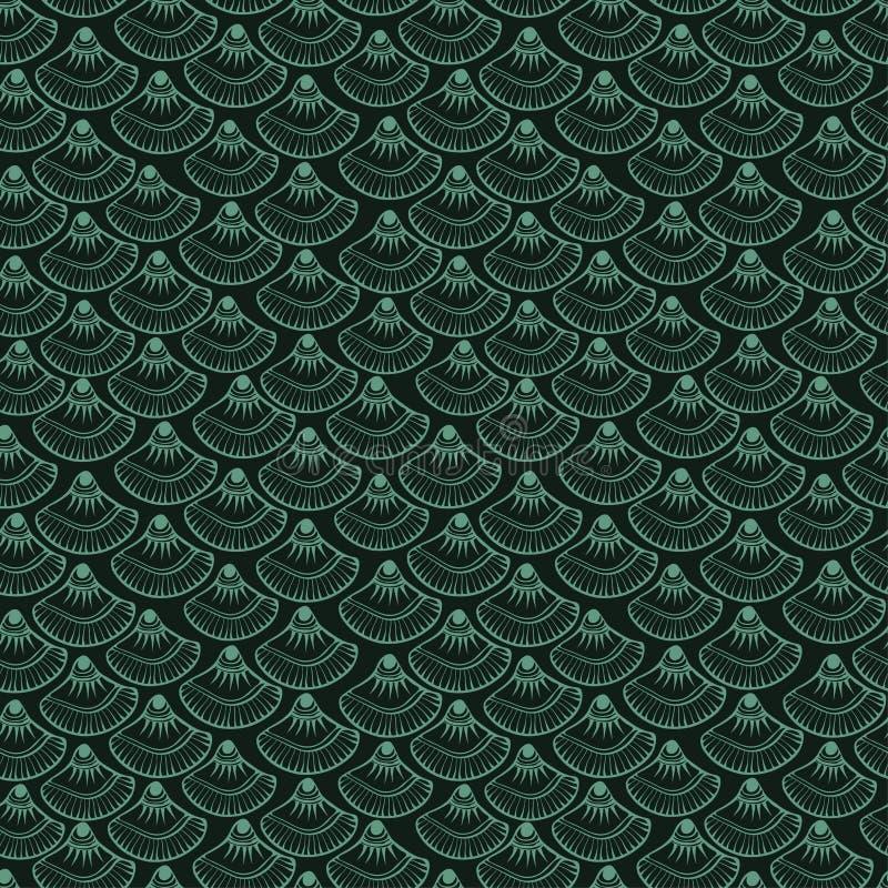 Textur av fiskvåg på ett mörker - grön bakgrund royaltyfri illustrationer