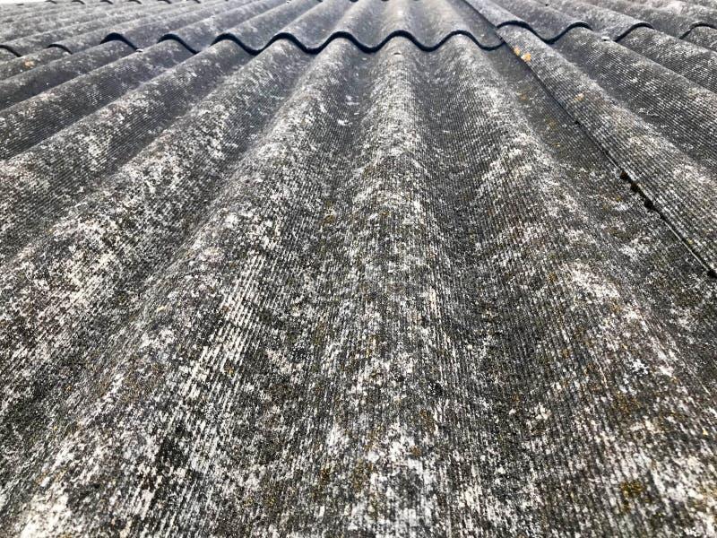 Textur av gamla förfallna massagrå färger kritiserar och att slutta taket av asbest som lokaliseras vertikalt täckt med grön moss royaltyfria foton