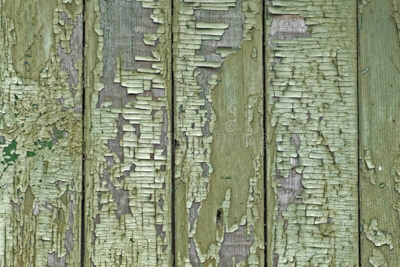Textur av gamla träbräden med grön sprucken målarfärg, tappningbakgrund royaltyfri fotografi