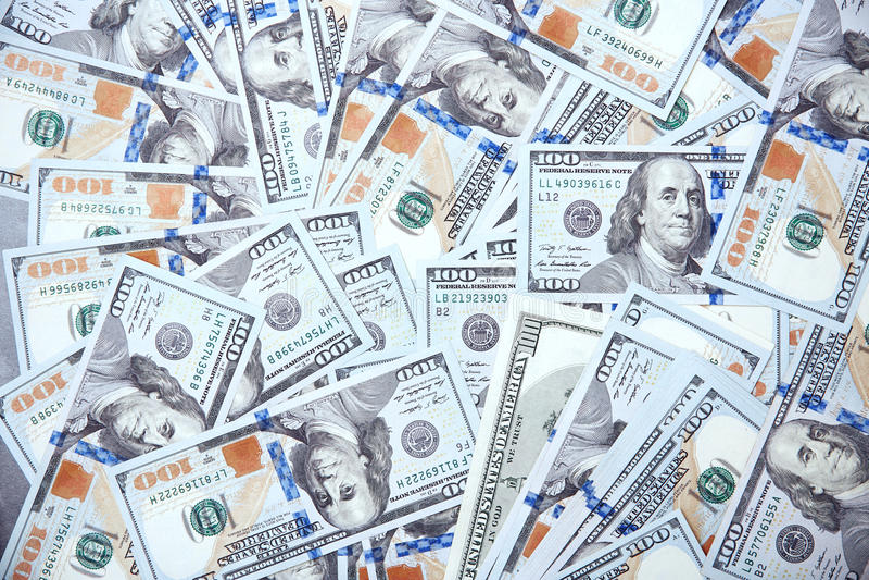 Textur av hundra US dollar royaltyfria bilder