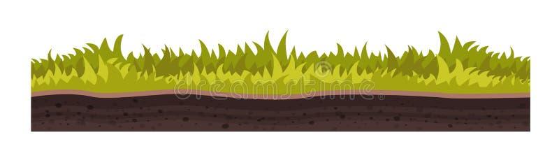 Textur av jord, med gräs, gräsmatta, vegetation vektor illustrationer