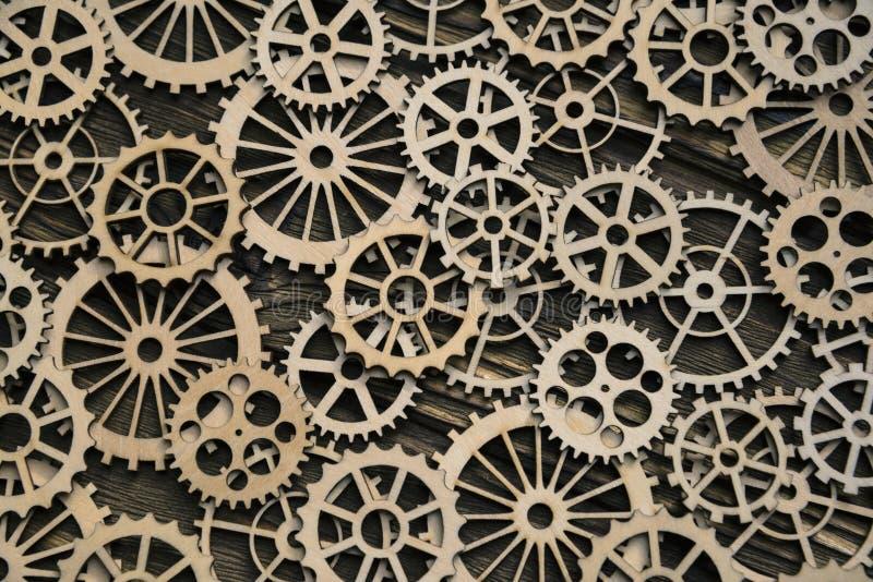 Textur av kugghjul ligger i perspektivet, bakgrund royaltyfri bild