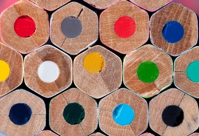 Textur av kulöra blyertspennor royaltyfria foton