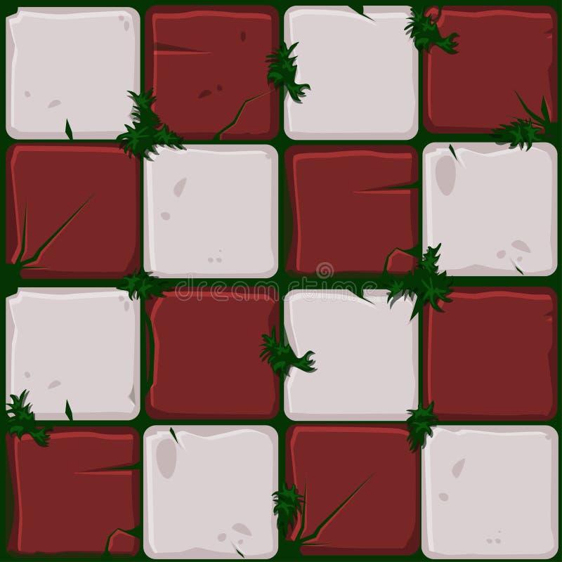 Textur av röda stentegelplattor, den sömlösa bakgrundsstenväggen och gräs Vektorillustration för användargränssnittet av leken royaltyfri illustrationer