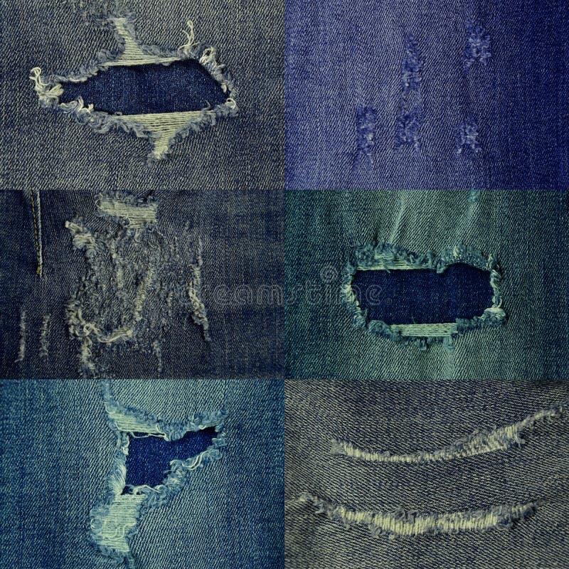Textur av rev sönder olika nyanser för jeans fotografering för bildbyråer