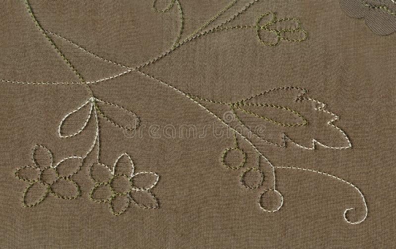 Textur av siden- tyg med en överdimensionerad visitimtrådmodell av den blom- prydnaden Den viktorianska stilen av den nordliga ko arkivfoton