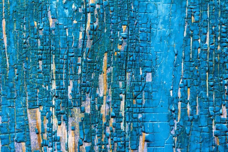 Textur av träladugårdbrädet med kvarlevorna av gamla målarfärgblått royaltyfri fotografi