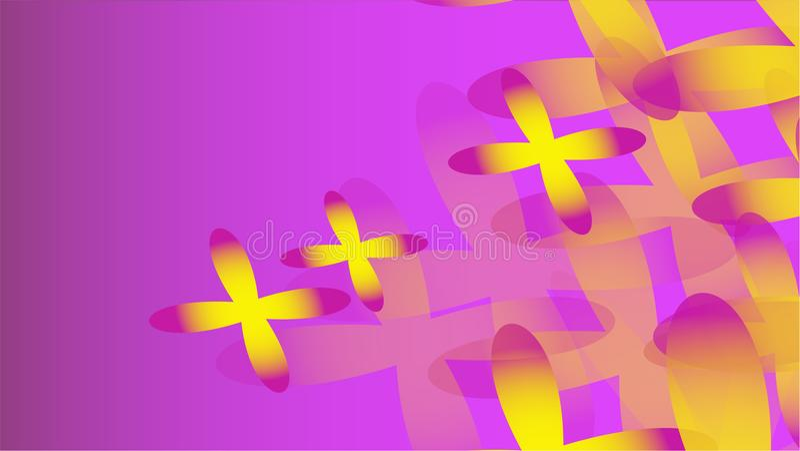 Textur av volymetrisk trendig magi för genomskinligt gulingabstrakt begrepp av olika former av kosmiska fyra-spruckna ut blommor  stock illustrationer