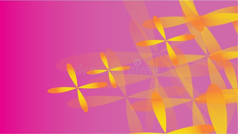 Textur av volymetrisk trendig magi för genomskinligt gulingabstrakt begrepp av olika former av kosmiska fyra-spruckna ut blommor  vektor illustrationer
