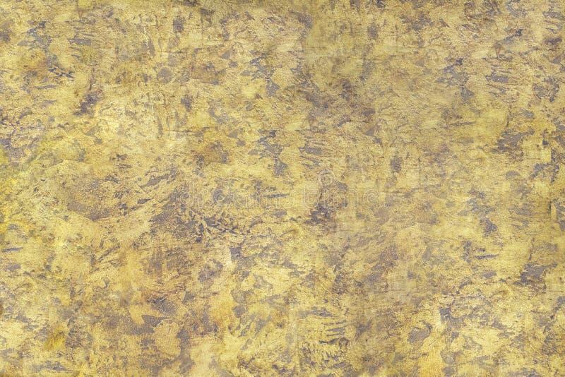 Textur bedrövad guld- brunt för väggyttersida fotografering för bildbyråer