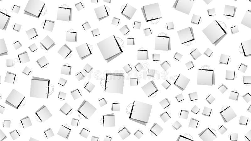 Textur den sömlösa modellen av pappers- påsar med handtag som shoppar boxas Affisch för kundförsäljningar också vektor för coreld vektor illustrationer