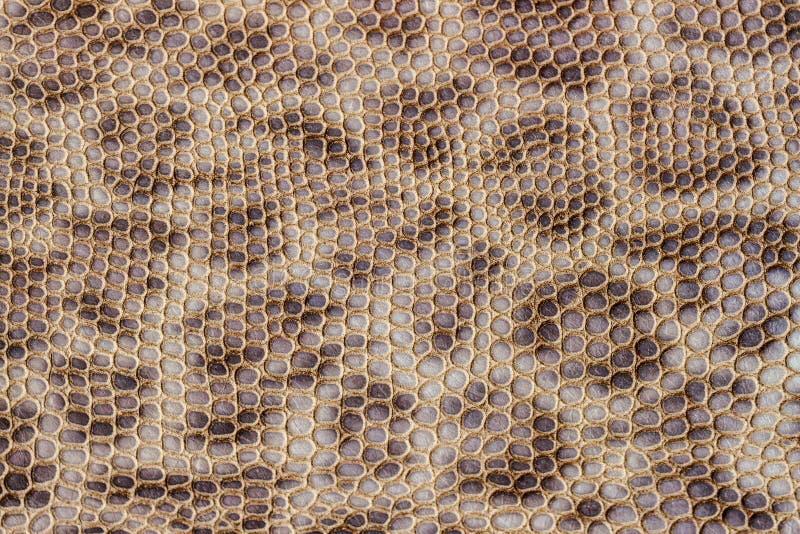 Textur för äktt läder som utföra i relief under huden av leoparden, brunt färgtryck för beyge, moderiktig bakgrund royaltyfri foto