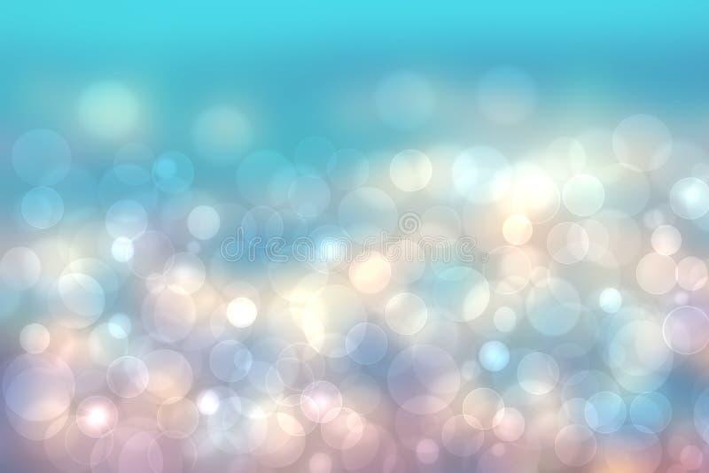 Textur för bakgrund för bokeh för abstrakt suddig ny livlig vårsommar ljus delikat pastellfärgad blå rosa vit med det ljusa cirku royaltyfri illustrationer