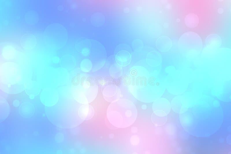 Textur för bakgrund för bokeh för rosa färger för turkos för abstrakt suddig ny livlig vårsommar ljus delikat pastellfärgad blå m royaltyfri illustrationer