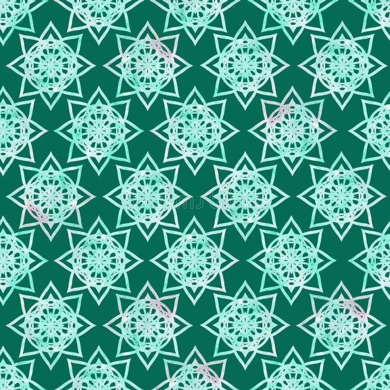 Textur för färgstänk för ljus för mandalablomma geometrisk för form grunge för abstrakt begrepp färgrik, sömlös modell för vatten vektor illustrationer