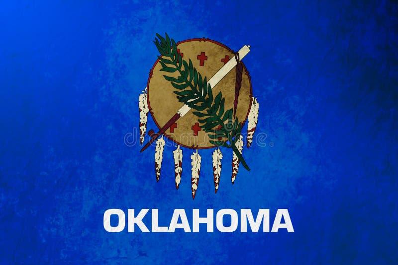 Textur för grunge för bakgrund för Oklahoma tillståndsflagga royaltyfri illustrationer