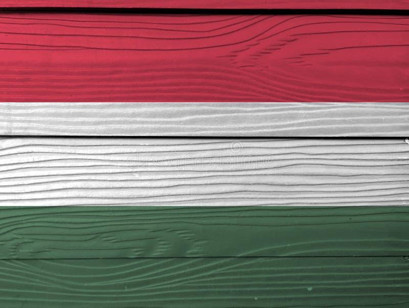 Textur för GrungeUngernflagga, ett horisontaltricolor av rött, vitt och grönt stock illustrationer