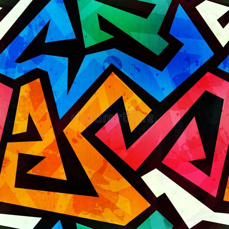 Textur för kulöra grafitti för Grunge sömlös royaltyfri illustrationer