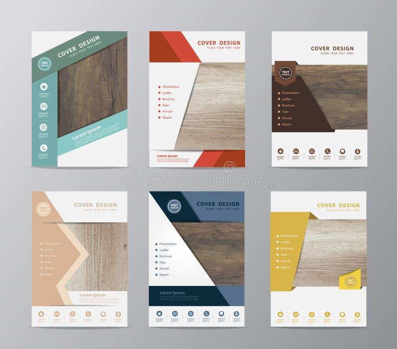 Textur för mall för design för reklamblad för vektorårsrapportbroschyr wood vektor illustrationer