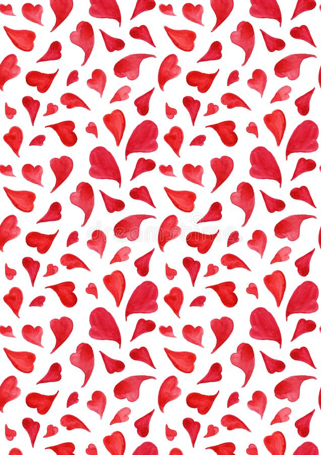 Textur för modell för bakgrund för dag för ` s för valentin för röda hjärtor för vattenfärg Sankt royaltyfri illustrationer
