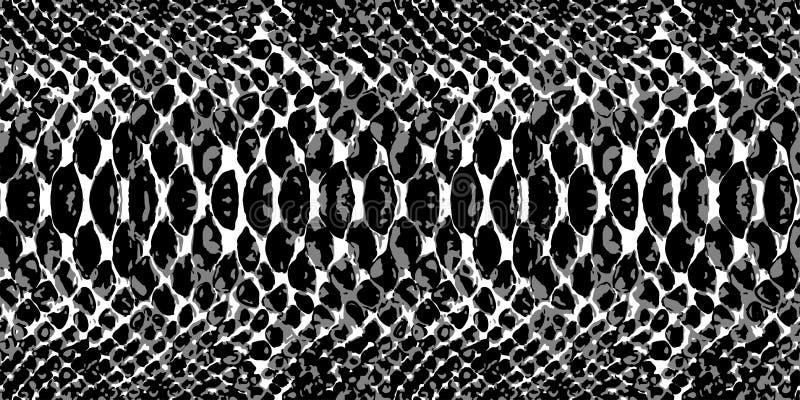 Textur för modell för ormhud som upprepar sömlös monokromsvart & vit vektor Texturorm Trendigt tryck vektor illustrationer