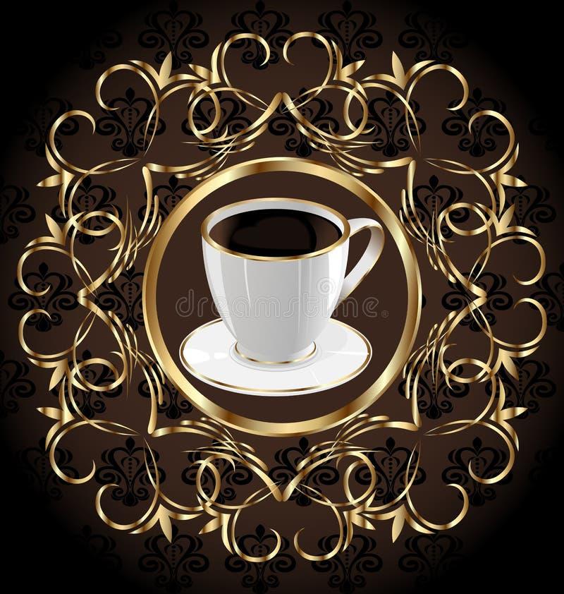 textur för packe för blom- etikett för kaffe utsmyckad royaltyfri illustrationer