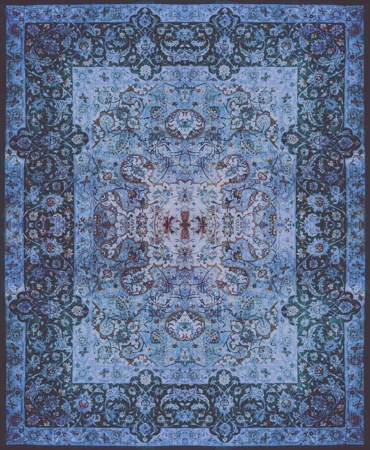 Textur för persisk matta, abstrakt prydnad Rund mandalamodell, mitt - östlig traditionell matttygtextur Turkos mjölkar arkivfoton