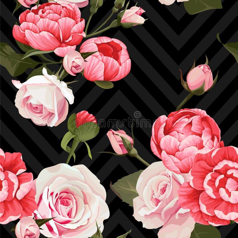 Textur för sömlös modell för pion- och rosvektor blom- på en mörk sparrebakgrund stock illustrationer