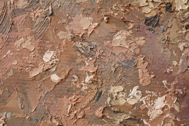 Textur för slut för olje- målning övre med borsteslaglängder fotografering för bildbyråer