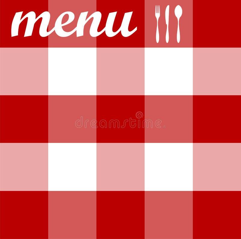 textur för tablecloth för bestickdesignmeny röd stock illustrationer