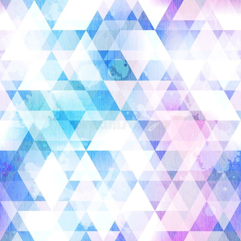Textur för triangel för himmelblått sömlös med grungeeffekt royaltyfri illustrationer