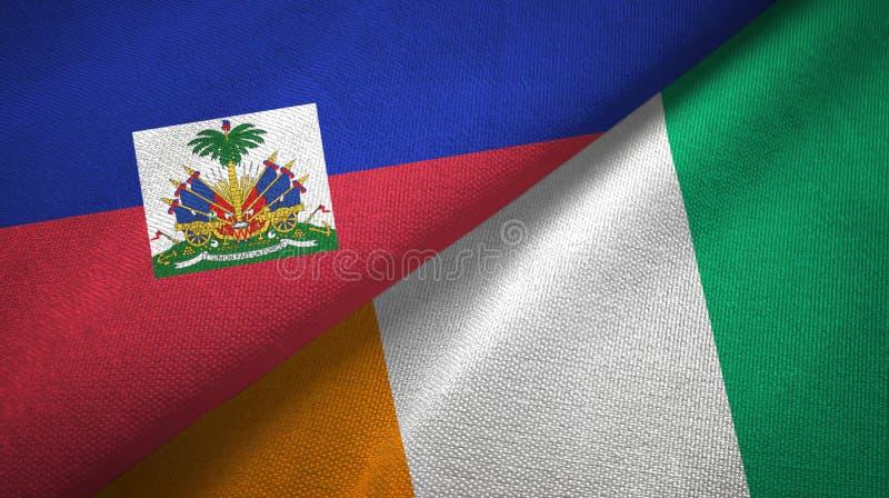 Textur f?r tyg f?r textil f?r flaggor f?r Haiti och f?r skjul D ?Ivoire Elfenbenskust tv? arkivbilder