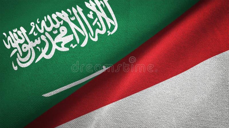 Textur för tyg för torkduk för Indonesien och Saudiarabien två flaggatextil royaltyfri illustrationer
