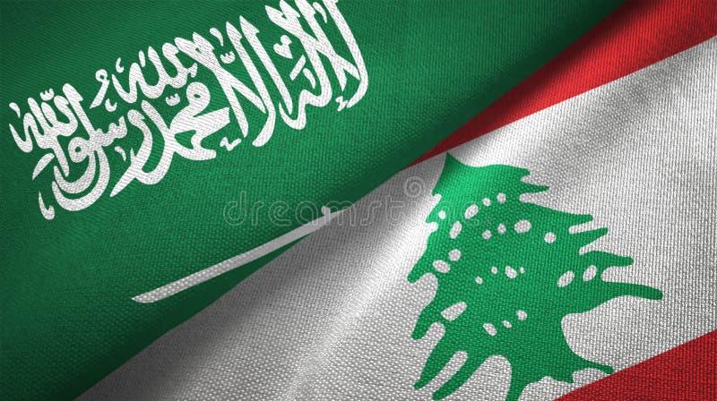 Textur för tyg för torkduk för Libanon och Saudiarabien två flaggatextil vektor illustrationer