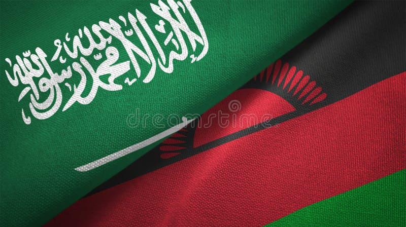 Textur för tyg för torkduk för Malawi och Saudiarabien två flaggatextil royaltyfri illustrationer