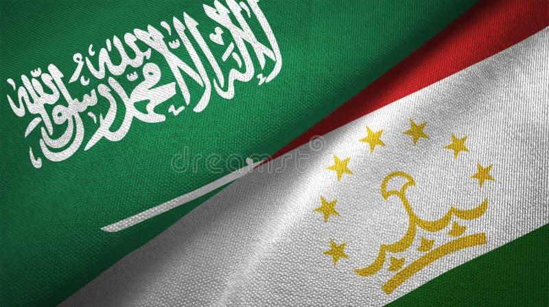 Textur för tyg för torkduk för Tadzjikistan och Saudiarabien två flaggatextil royaltyfri illustrationer