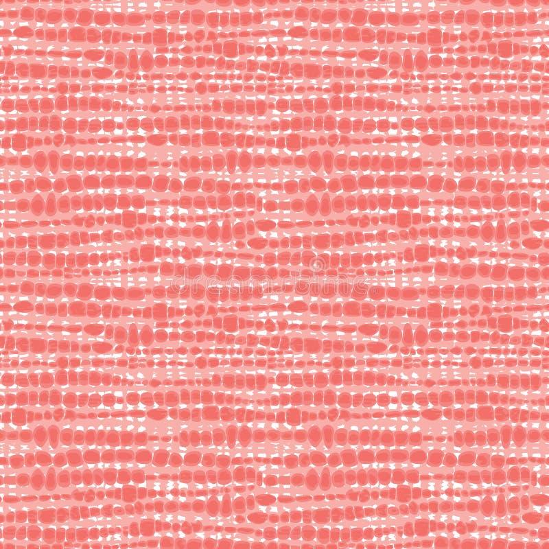 Textur för tyg för vektorkorall rosa sömlös Kanfas f?r broderi Passande för textil, gåvasjal och tapet arkivfoton