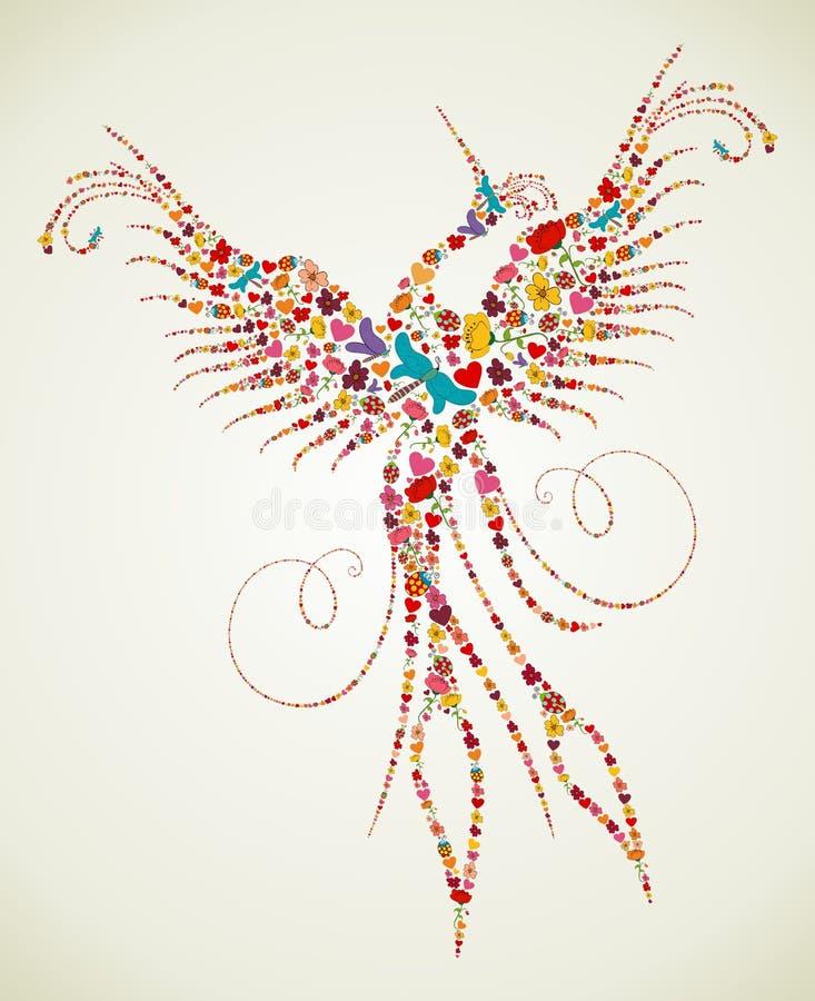 Textur för vårPheonix fågel stock illustrationer