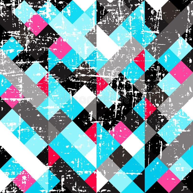 Textur f?r grunge f?r litet kul?rt PIXELabstrakt begrepp geometrisk stock illustrationer