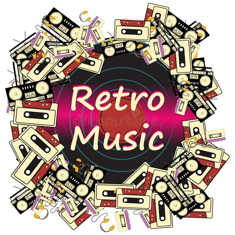 Textur inramar retro musik för inskrift från ljudkassetter och vinyl för registreringsapparater för elektronikanordningljudband royaltyfri illustrationer
