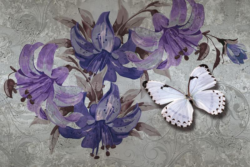 textur, liljor och fjärilar för tapet 3d på betongväggbakgrund r vektor illustrationer