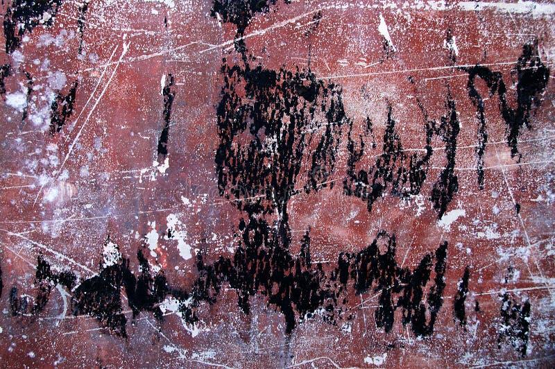 Textur målade den gamla metallväggen Bruna vita svarta fläckar fotografering för bildbyråer