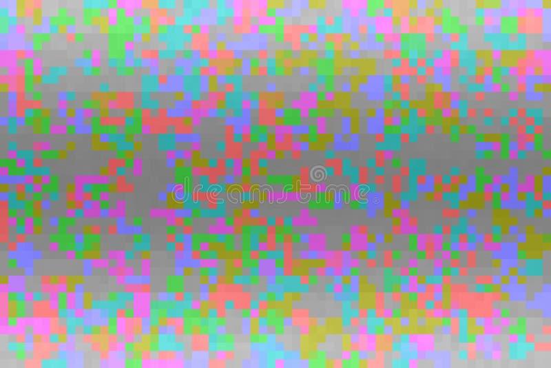 Textur med fyrkantiga kvarter f?r PIXEL Abstrakt färgrik tekniskt fellutningbakgrund Mosaisk tetrismodell vektor illustrationer