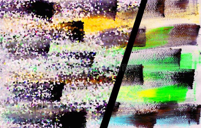 Textur med glitch-effekt ritad med vattenfärg på en vit bakgrund, illustrationer royaltyfri foto