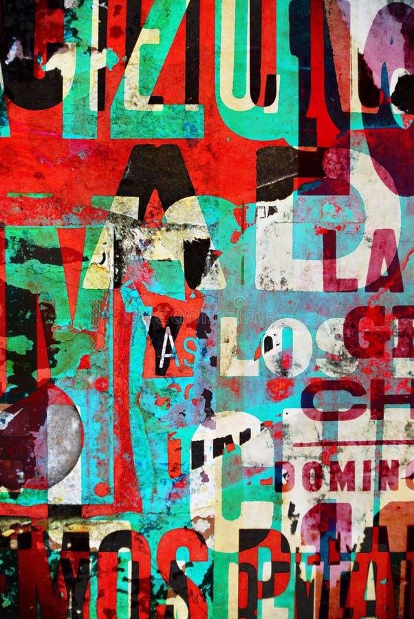 Textur numérique de collage de fond ou de papier peint de conception de typographie photos stock