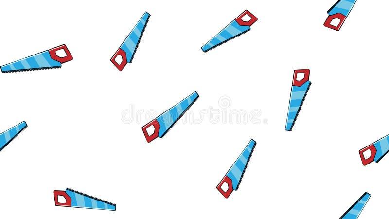 Textur sömlös abstrakt modell av byggande av skarpa metalliska blåa handsågar för reparation, klipphjälpmedel på vit bakgrund vek stock illustrationer