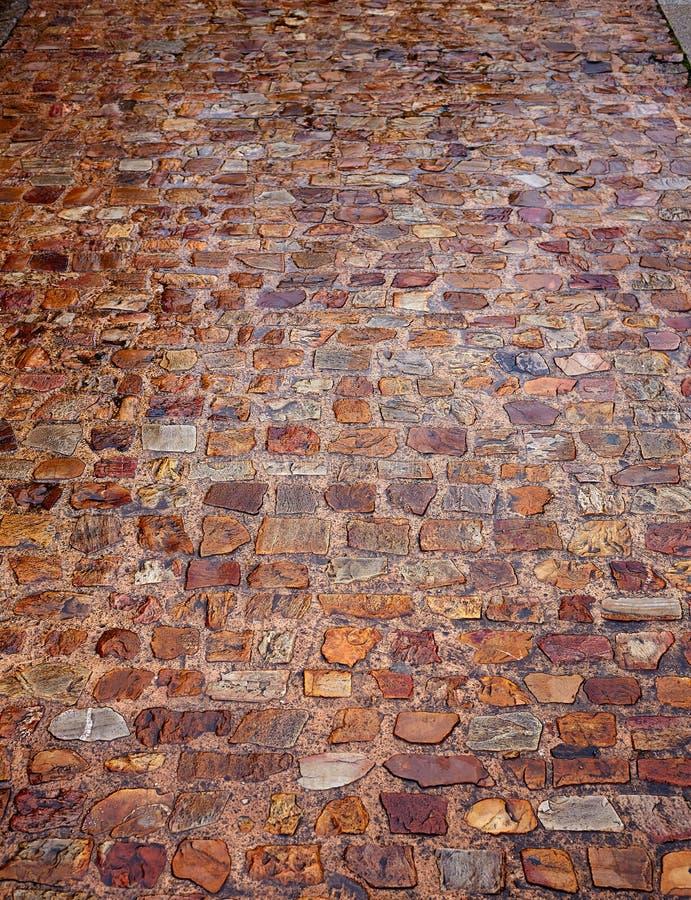 Textur Spanien för golv för Zamora stenkullersten royaltyfria bilder