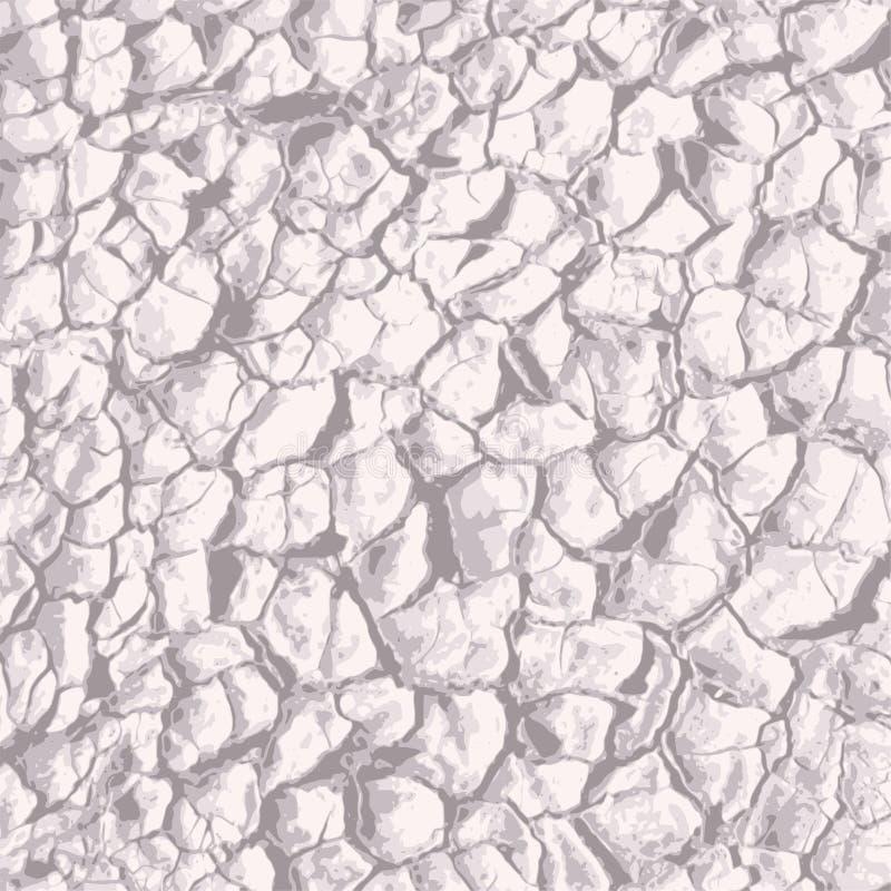 Textura à terra rachada Quebras na argila ilustração stock